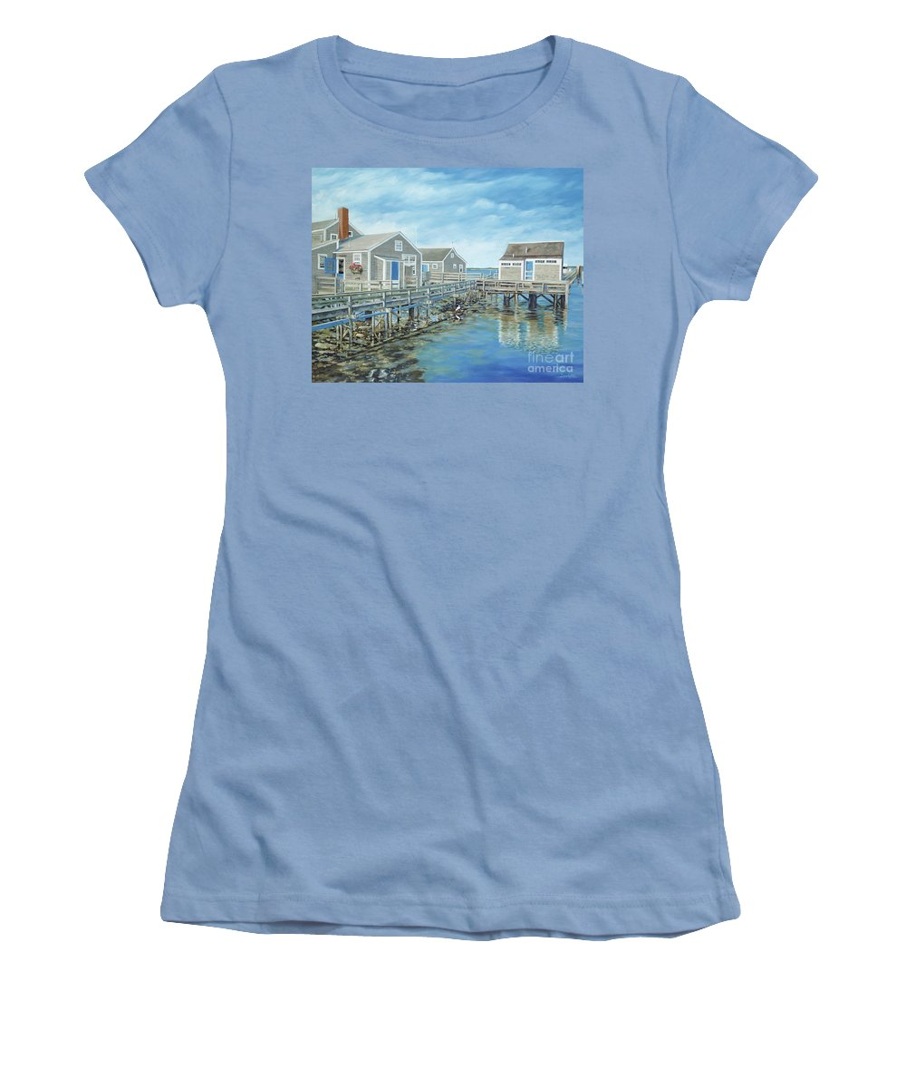 Nanutucket Women's T-Shirt (Athletic Fit) featuring the painting Seaside Cottages by Danielle Perry