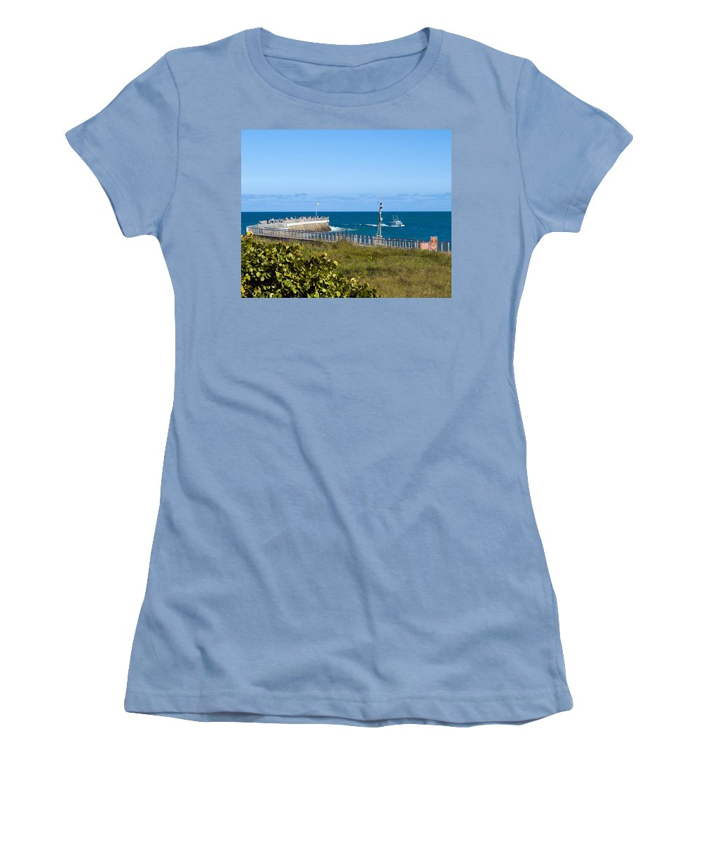 Florida; Space; Coast; Sebastian; Inlet; Indian; River; Lagoon; Shore; Sea; Ocean; Atlantic; East; W Women's T-Shirt (Athletic Fit) featuring the photograph Sebastian Florida by Allan Hughes