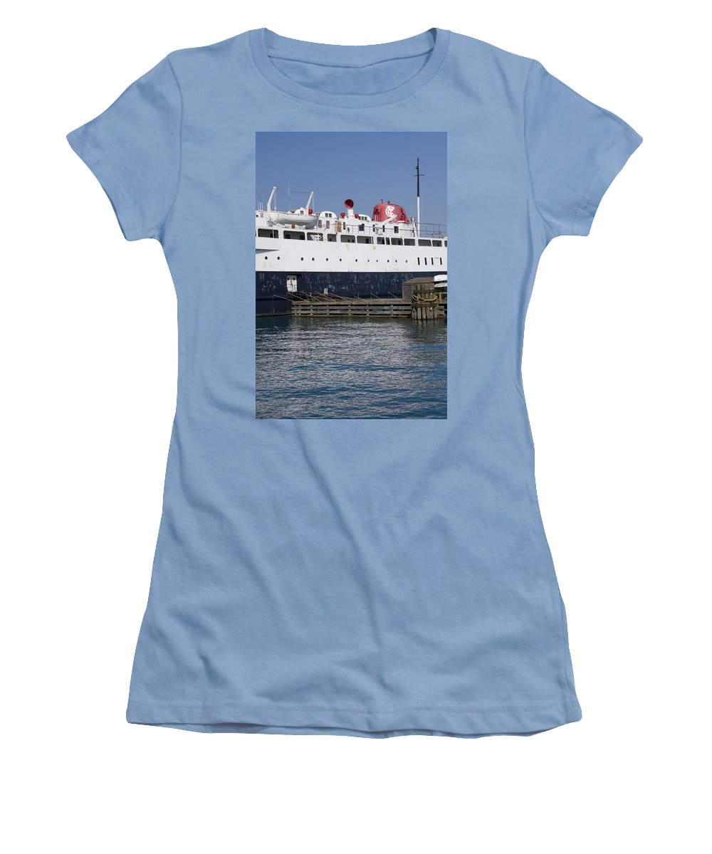 Chicago Windy City Ship Boat Lake Michigan Water Wave Reflection Sky Blue White Red Women's T-Shirt (Athletic Fit) featuring the photograph Ship by Andrei Shliakhau