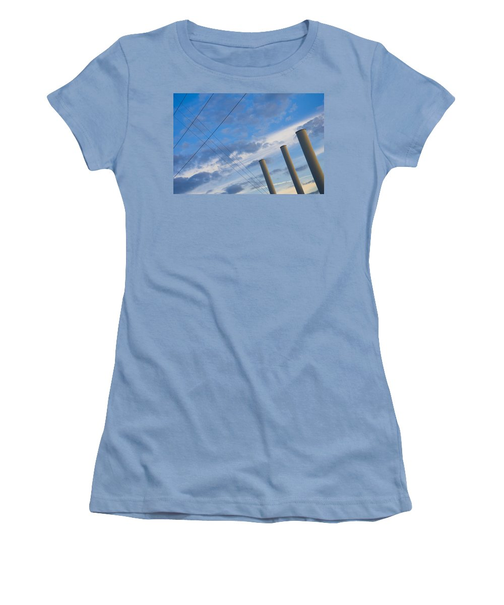 Blue Women's T-Shirt (Athletic Fit) featuring the photograph Smoke Stax by Skip Hunt