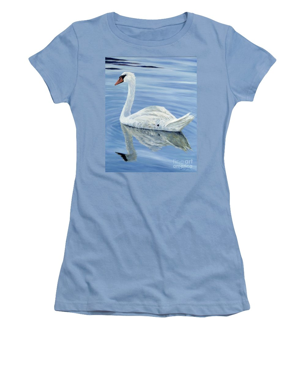 Swan Women's T-Shirt (Athletic Fit) featuring the painting Solitary Swan by Danielle Perry