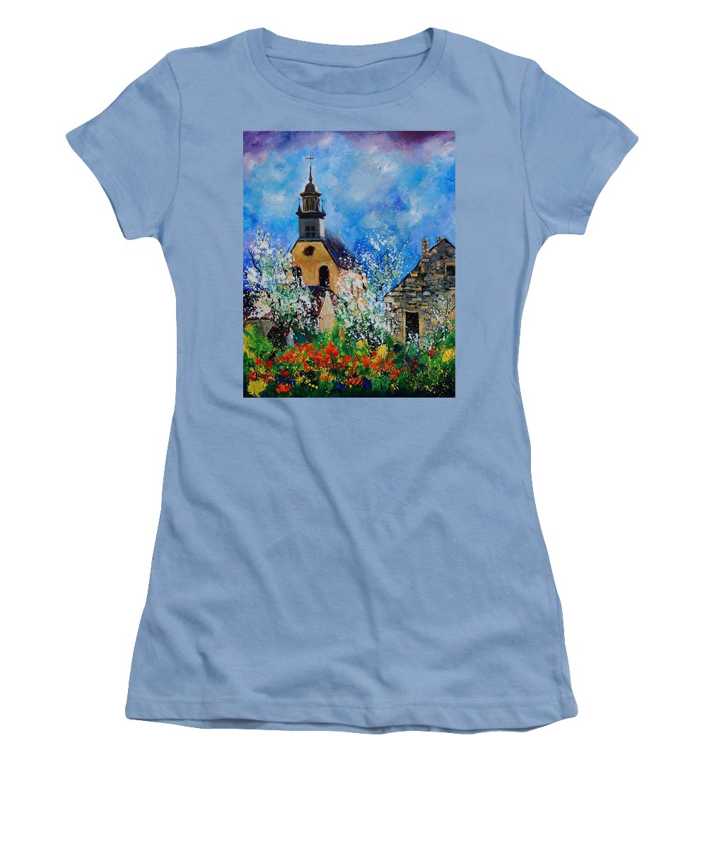 Spring Women's T-Shirt (Athletic Fit) featuring the painting Spring In Foy Notre Dame Dinant by Pol Ledent