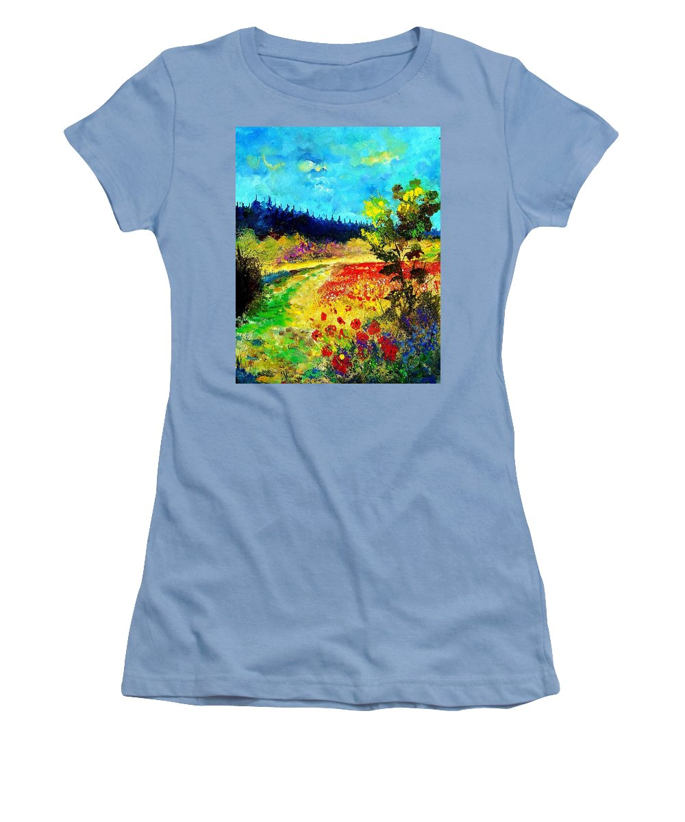 Flowers Women's T-Shirt (Athletic Fit) featuring the painting Summer by Pol Ledent