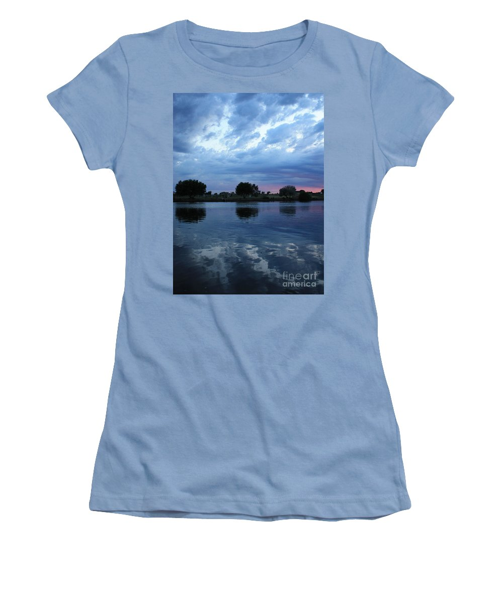 Blue Women's T-Shirt (Athletic Fit) featuring the photograph Summer Sunset On Yakima River 5 by Carol Groenen