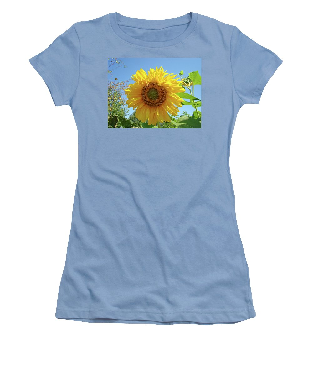 Sunflower Women's T-Shirt (Athletic Fit) featuring the photograph Sunflower Art Prints Sun Flower 2 Giclee Prints Baslee Troutman by Baslee Troutman