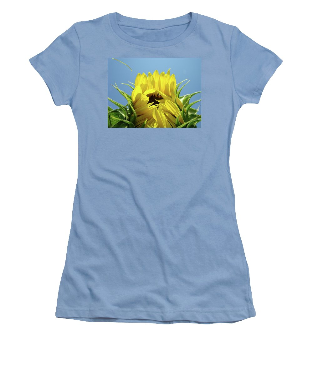 Sunflower Women's T-Shirt (Athletic Fit) featuring the photograph Sunflower Opening Sunny Summer Day 1 Giclee Art Prints Baslee Troutman by Baslee Troutman