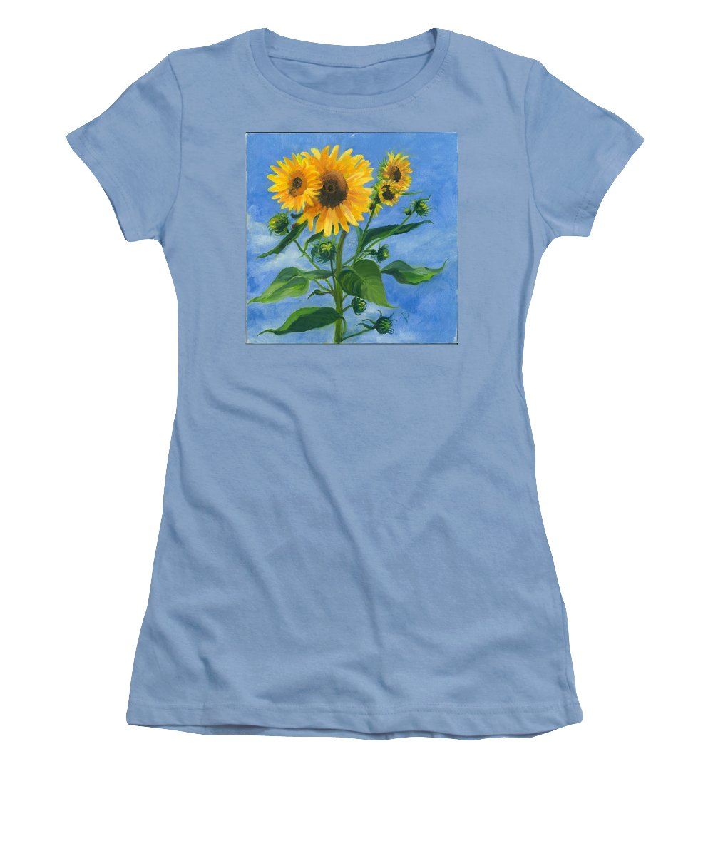 Flowers Women's T-Shirt (Athletic Fit) featuring the painting Sunflowers On Bauer Farm by Paula Emery