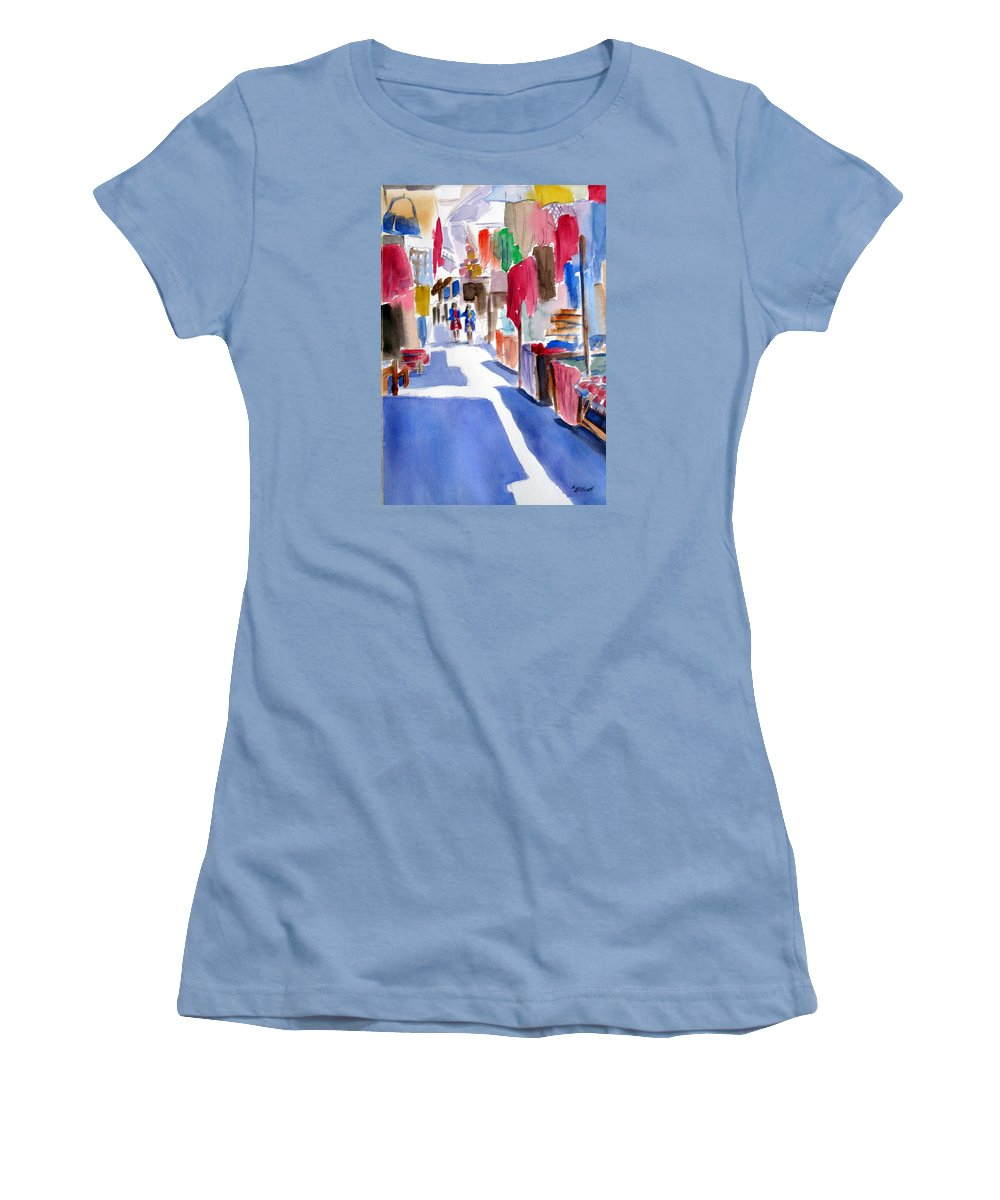 Market Women's T-Shirt (Athletic Fit) featuring the painting Sunny Day At The Market by Marsha Elliott