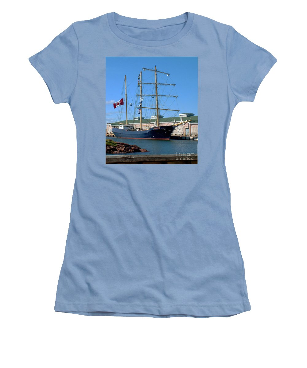 Dock Women's T-Shirt (Athletic Fit) featuring the photograph Tall Ship Waiting by RC DeWinter