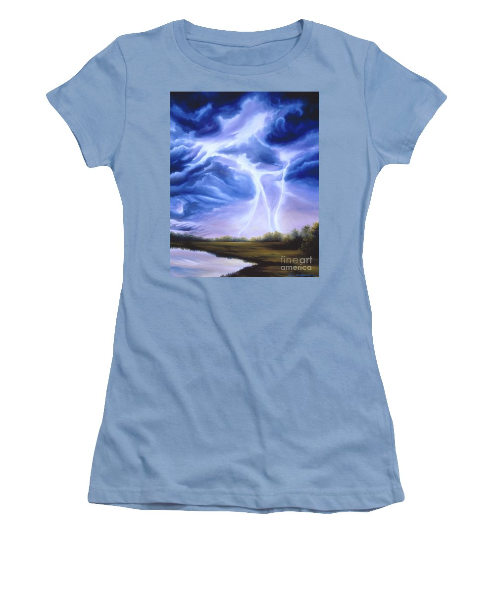 Marsh Women's T-Shirt (Athletic Fit) featuring the painting Tesla by James Christopher Hill