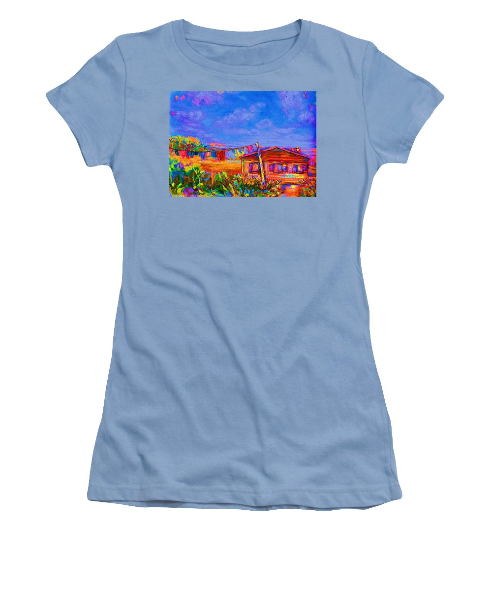 Clothesline Scenes Women's T-Shirt (Athletic Fit) featuring the painting The Clothesline by Carole Spandau