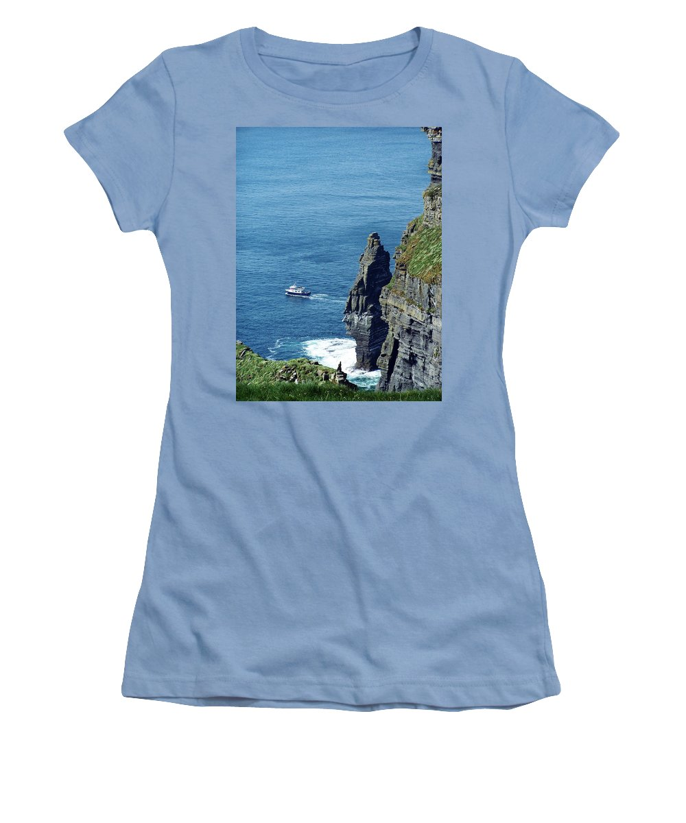Irish Women's T-Shirt (Athletic Fit) featuring the photograph The Stack And The Jack B Cliffs Of Moher Ireland by Teresa Mucha