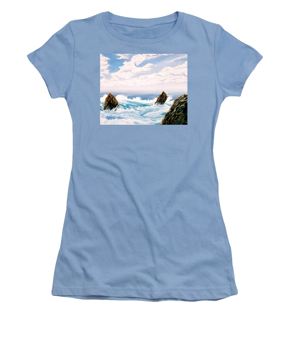 Seascape Women's T-Shirt (Athletic Fit) featuring the painting Three Rocks by Mark Cawood