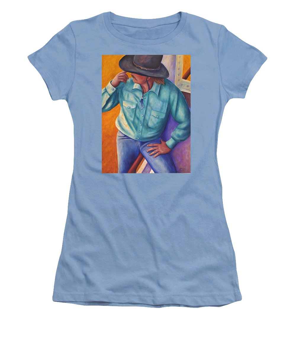Cowboy Women's T-Shirt (Athletic Fit) featuring the painting Travelin Man by Shannon Grissom