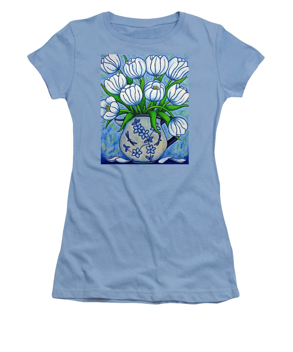 Flower Women's T-Shirt (Athletic Fit) featuring the painting Tulip Tranquility by Lisa Lorenz