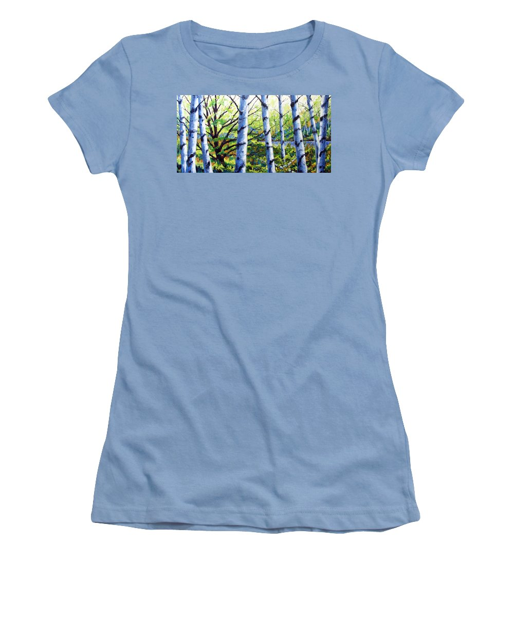 Lake Women's T-Shirt (Athletic Fit) featuring the painting Walk To The Lake by Richard T Pranke