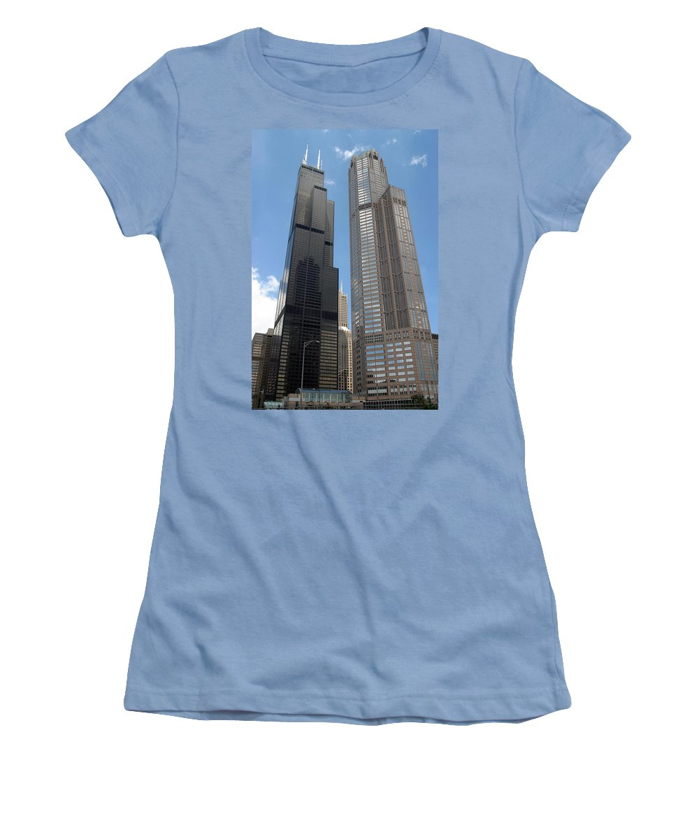 3scape Women's T-Shirt (Athletic Fit) featuring the photograph Willis Tower Aka Sears Tower And 311 South Wacker Drive by Adam Romanowicz