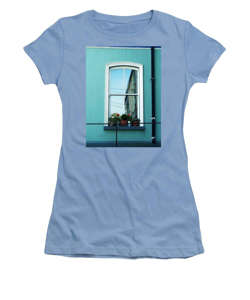 Irish Women's T-Shirt (Athletic Fit) featuring the photograph Window In Ennistymon Ireland by Teresa Mucha