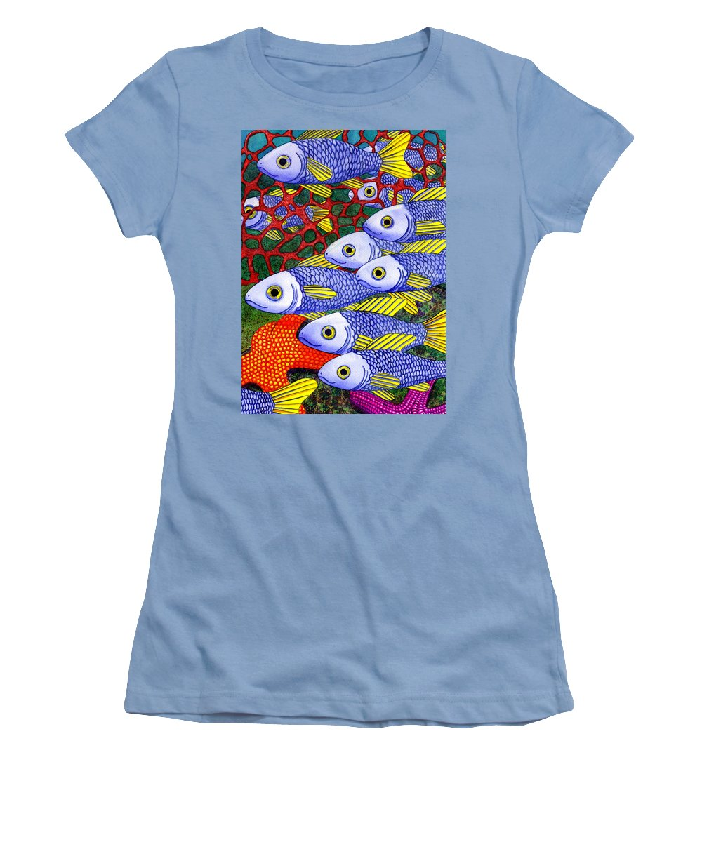 Fish Women's T-Shirt (Athletic Fit) featuring the painting Yellow Fins by Catherine G McElroy