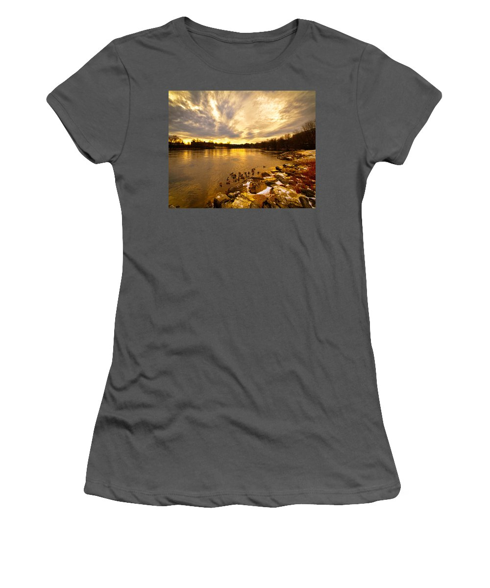 Androscoggin River Women's T-Shirt (Athletic Fit) featuring the photograph Androscoggin River Between Lewiston And Auburn by Bob Orsillo