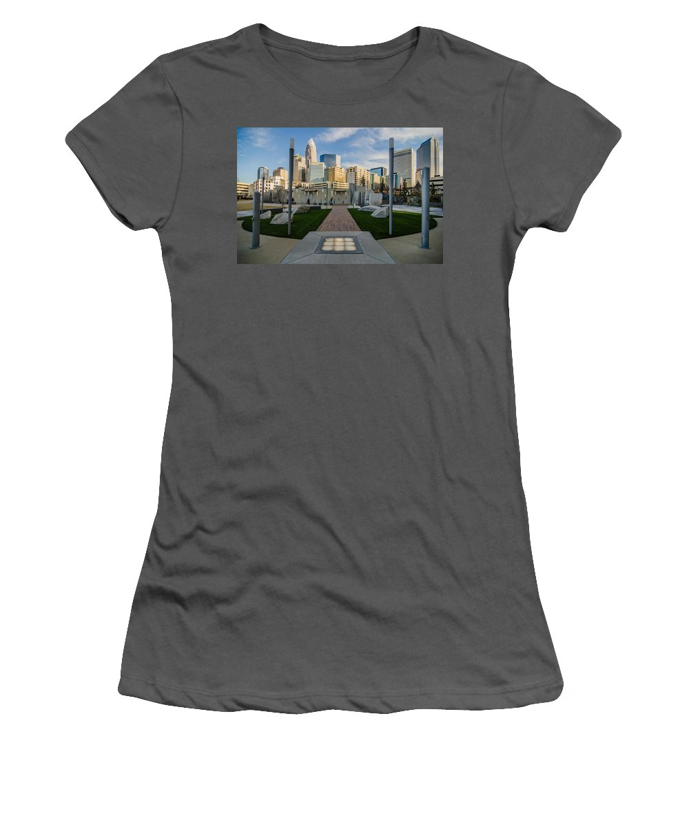 Romare Bearden Women's T-Shirt (Athletic Fit) featuring the photograph View Of Charlotte Skyline by Alex Grichenko