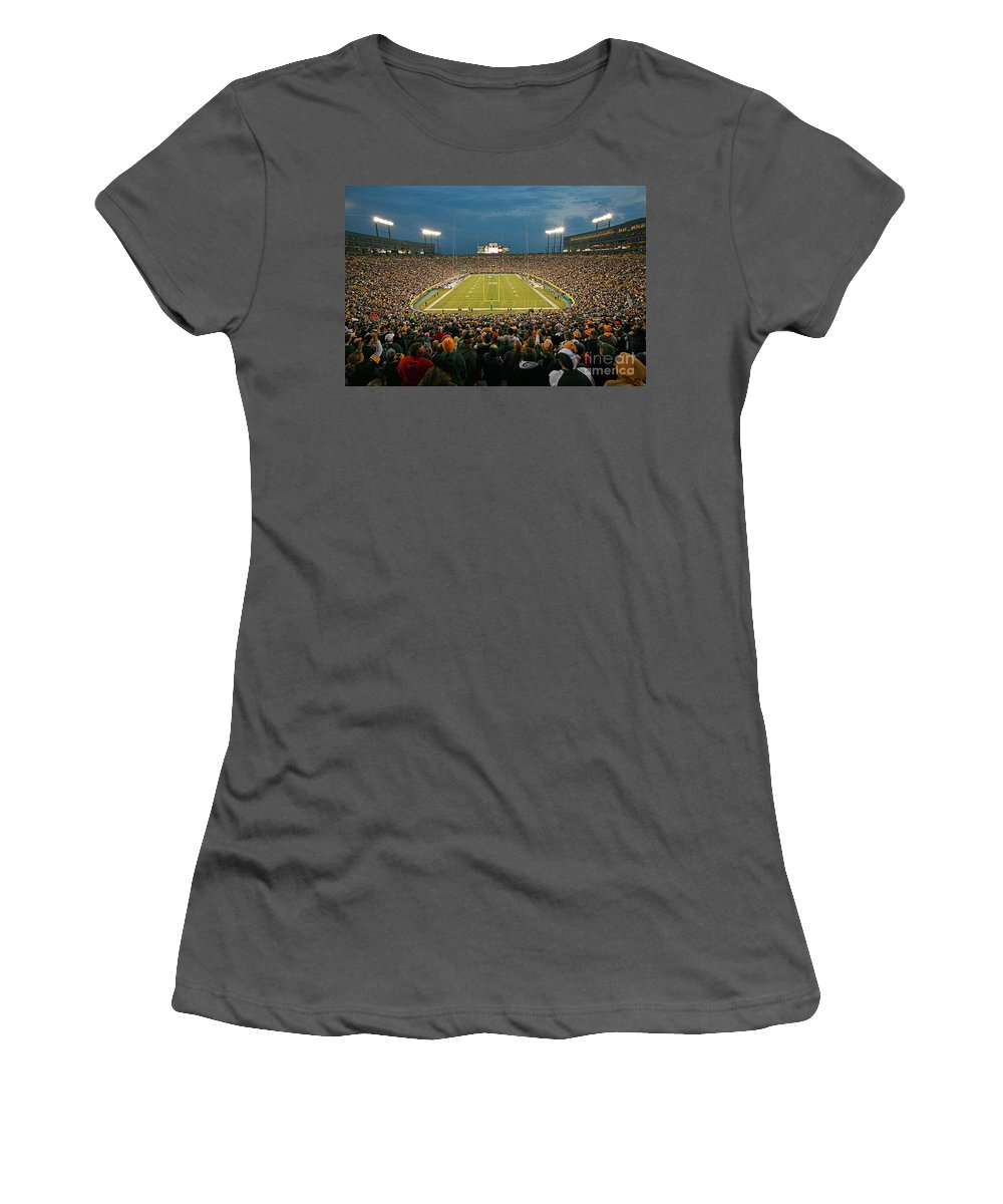 Green Women's T-Shirt (Athletic Fit) featuring the photograph 0615 Prime Time At Lambeau Field by Steve Sturgill