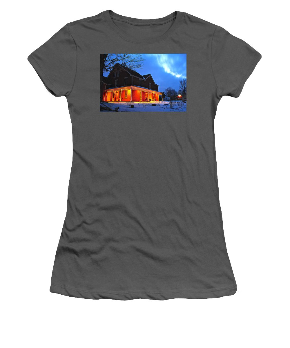 Winter Women's T-Shirt (Athletic Fit) featuring the photograph A Winters Eve by Frozen in Time Fine Art Photography