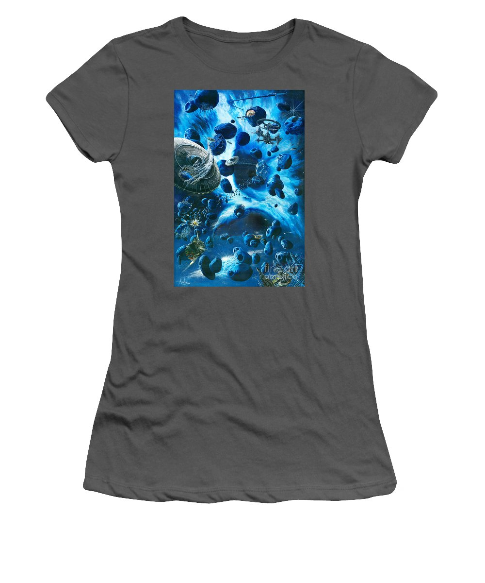 Asteroid Women's T-Shirt (Athletic Fit) featuring the painting Alien Pirates by Murphy Elliott