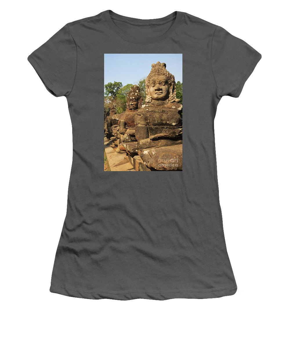 Historic Site Women's T-Shirt (Athletic Fit) featuring the photograph Angkor Thom South Gate by David Davis