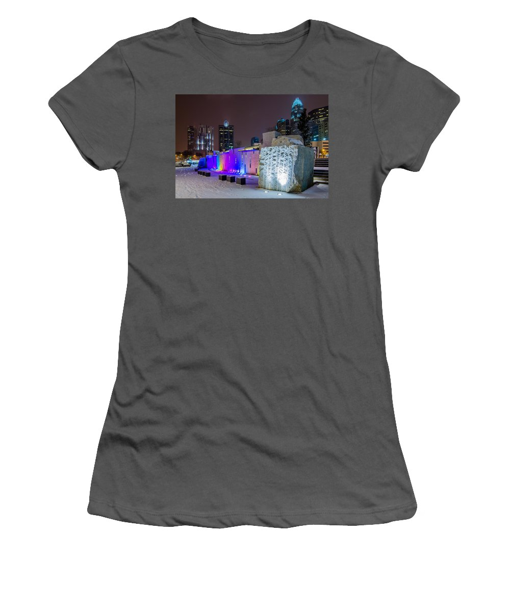 Charlotte Women's T-Shirt (Athletic Fit) featuring the photograph Charlotte Queen City Skyline Near Romare Bearden Park In Winter Snow by Alex Grichenko