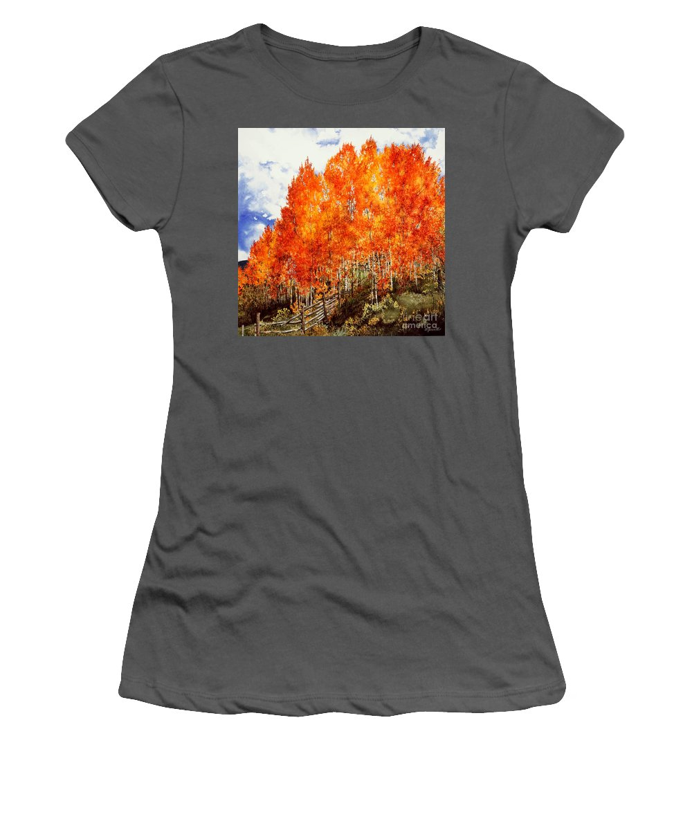 Autumn Landscape Women's T-Shirt (Athletic Fit) featuring the painting Flaming Aspens 2 by Barbara Jewell