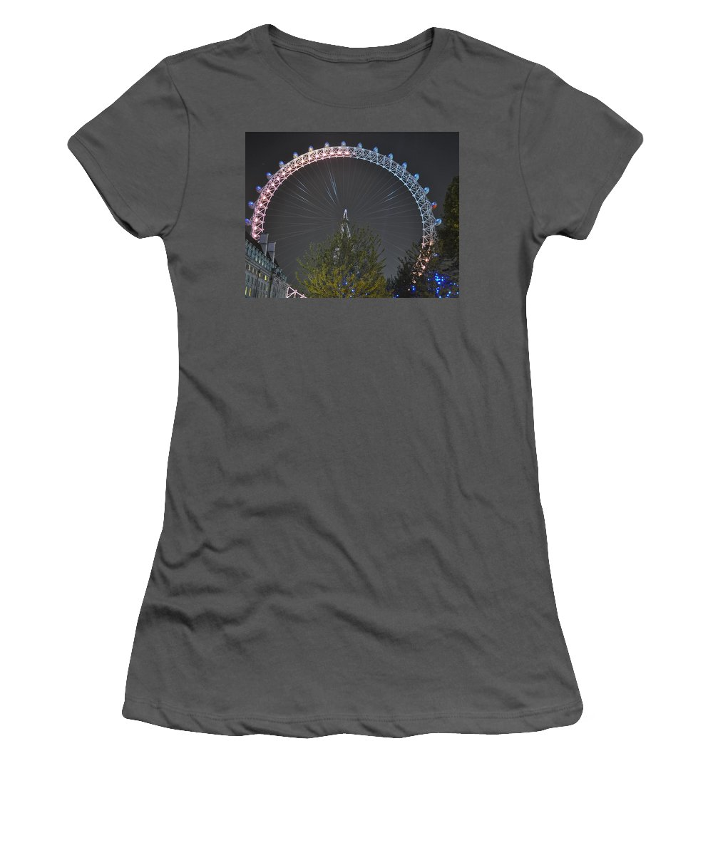 London Eye Women's T-Shirt (Athletic Fit) featuring the photograph London Eye At Night by Simon Hackett