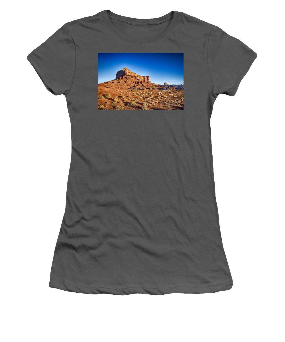 Monument Valley Women's T-Shirt (Athletic Fit) featuring the photograph Monument Valley -utah V5 by Douglas Barnard