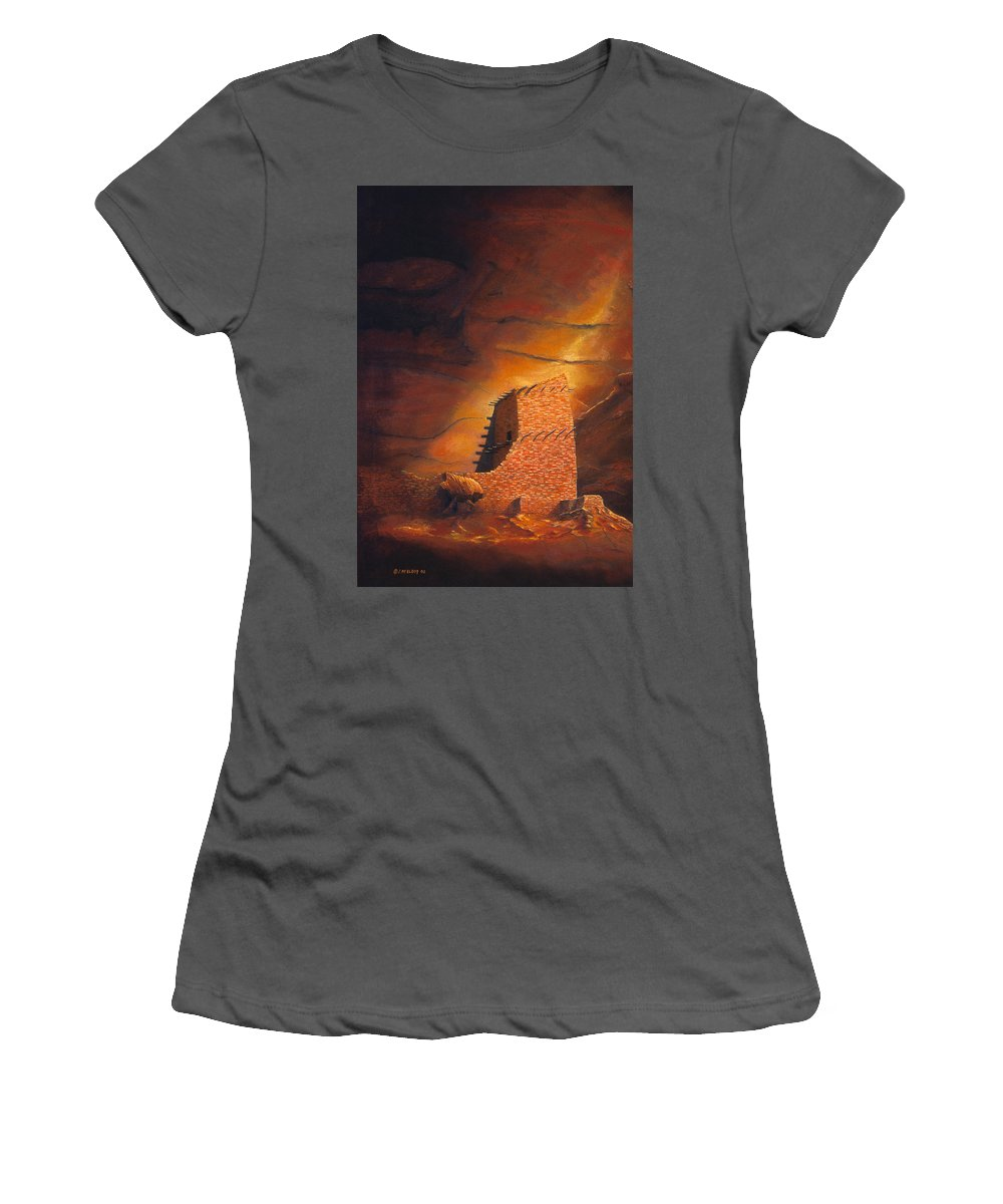 Mummy Cave Ruins Women's T-Shirt (Athletic Fit) featuring the painting Mummy Cave Ruins by Jerry McElroy