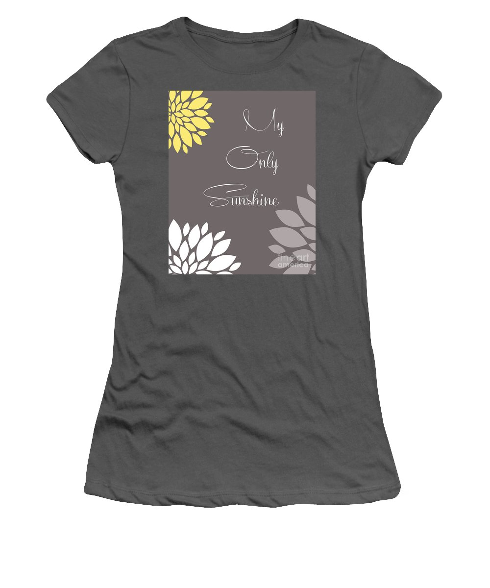 My Women's T-Shirt (Athletic Fit) featuring the digital art My Only Sunshine Peony Flowers by Voros Edit
