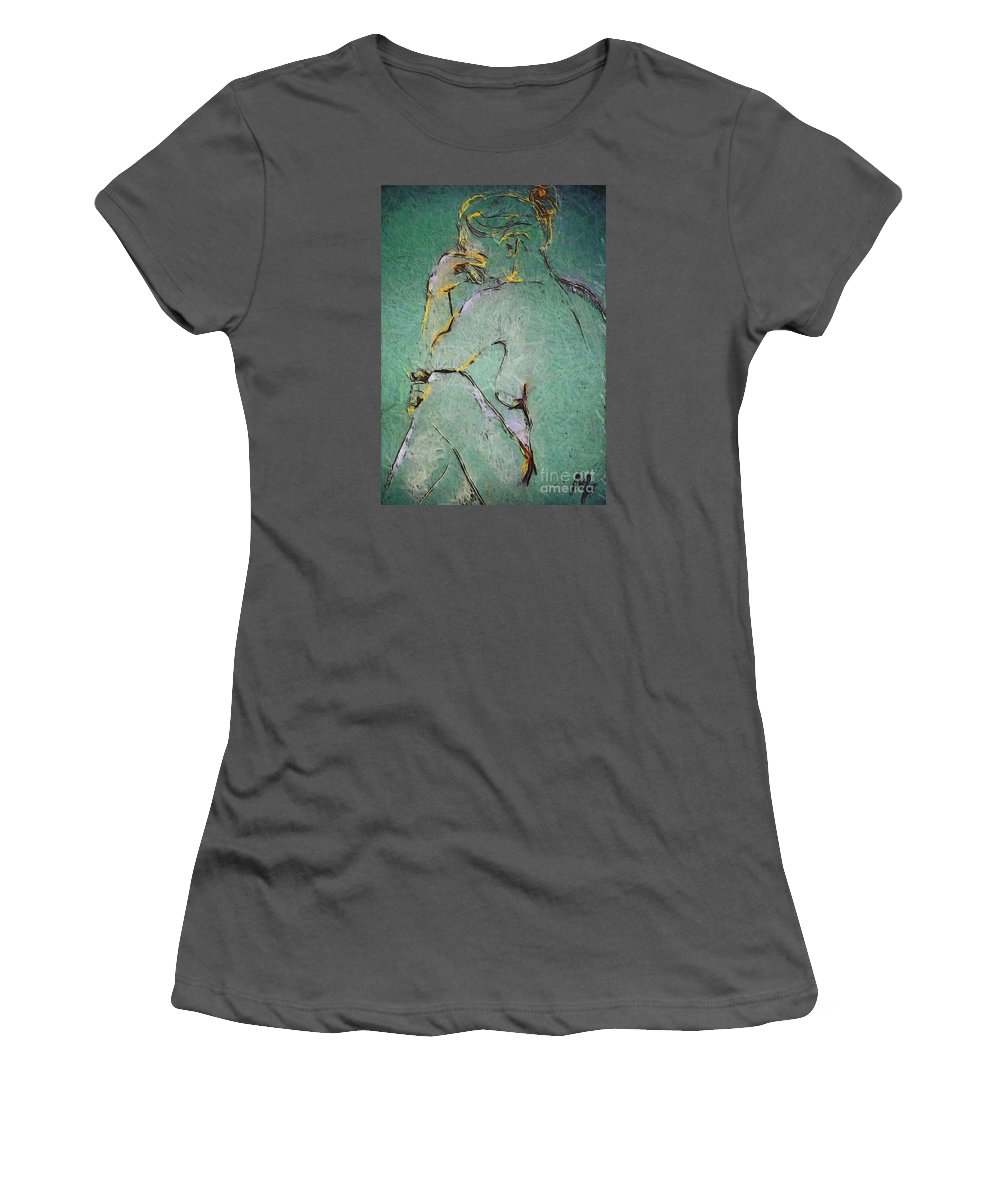 Nude Women's T-Shirt (Athletic Fit) featuring the drawing Nude IIi by Dragica Micki Fortuna