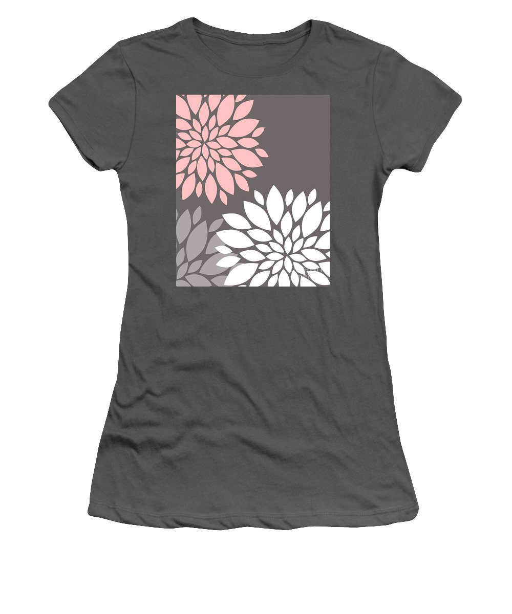 Pink Women's T-Shirt (Athletic Fit) featuring the digital art Pink Grey White Peony Flowers by Voros Edit