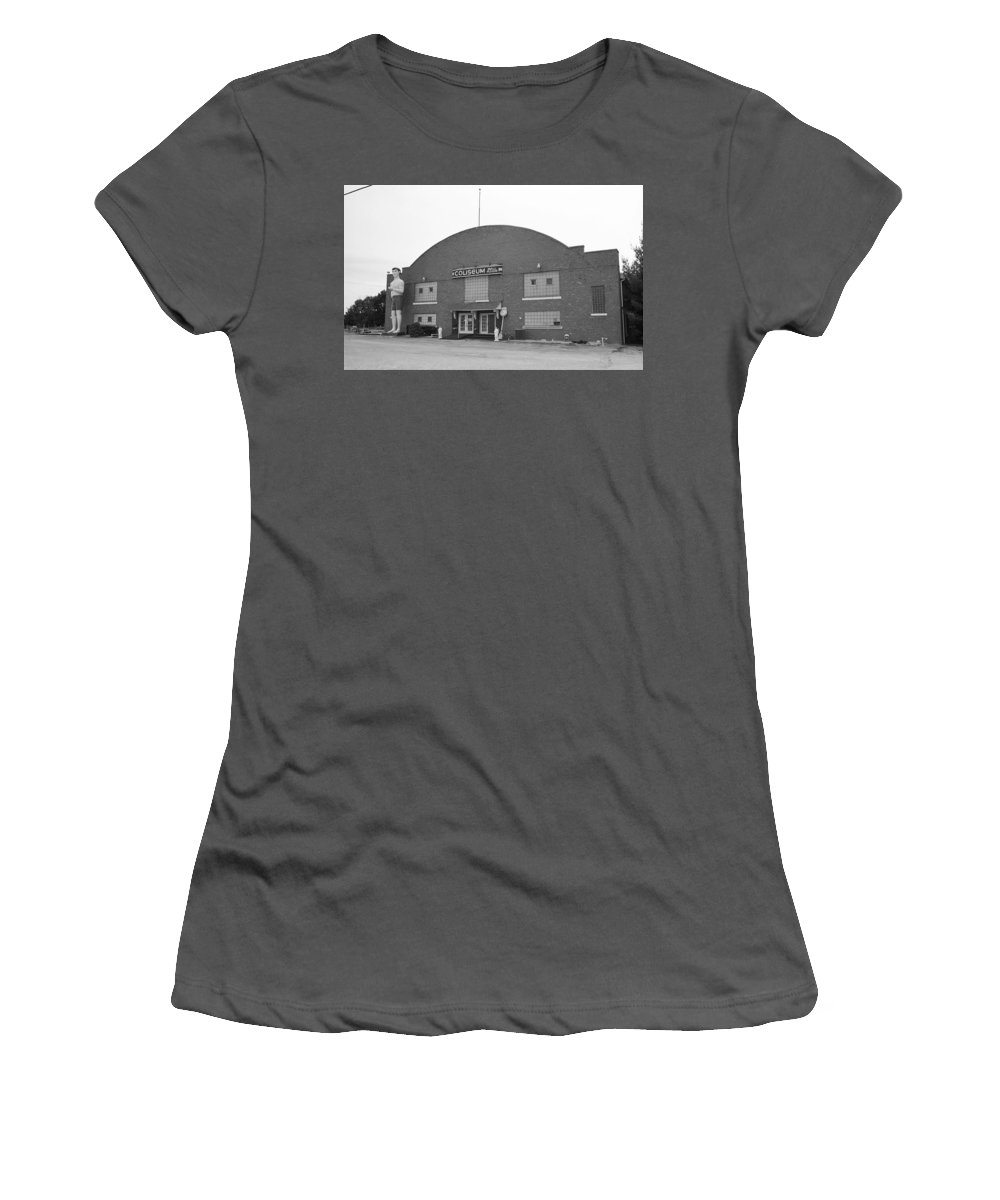 66 Women's T-Shirt (Athletic Fit) featuring the photograph Route 66 - Coliseum Ballroom by Frank Romeo