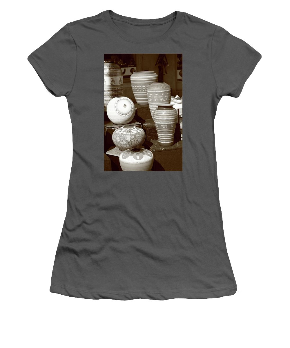 America Women's T-Shirt (Athletic Fit) featuring the photograph Santa Fe - Pottery by Frank Romeo