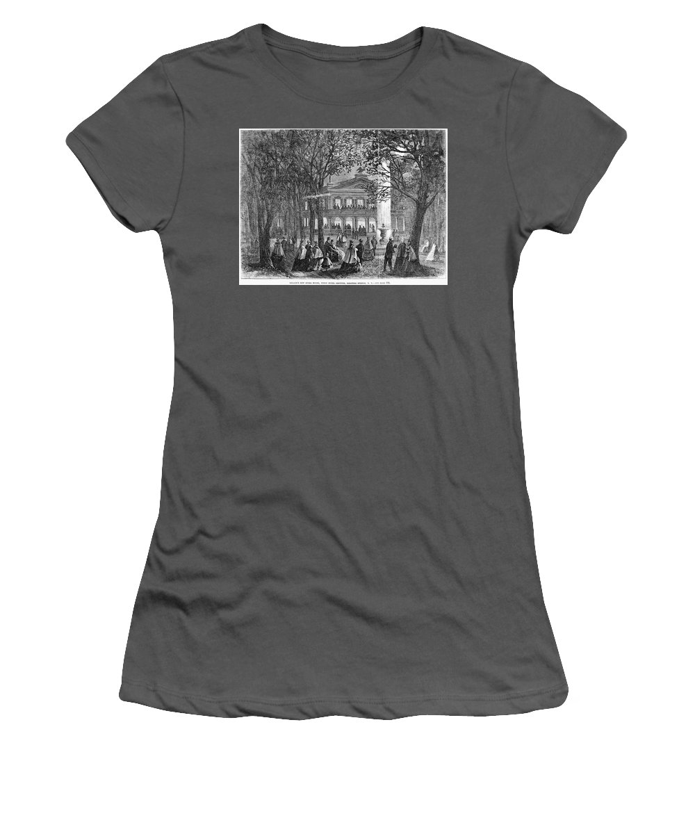 1865 Women's T-Shirt (Athletic Fit) featuring the drawing Saratoga Springs, 1865 by Granger