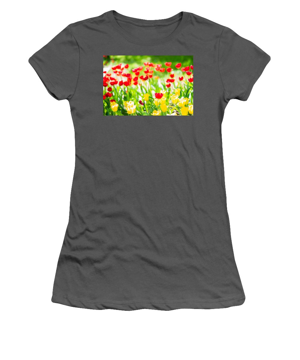 Flower Women's T-Shirt (Athletic Fit) featuring the photograph Sun Drenched Tulips - Featured 3 by Alexander Senin