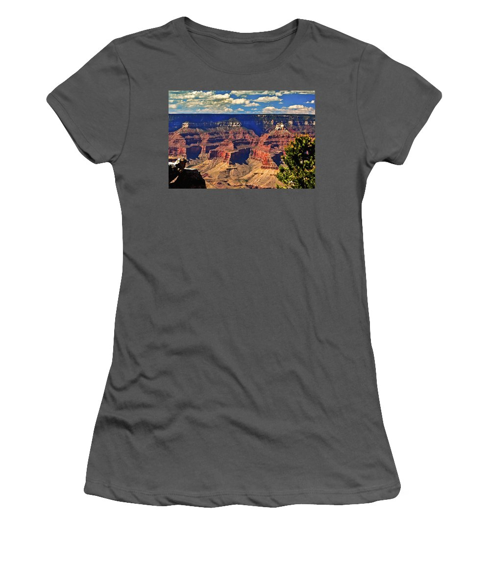 Angel Women's T-Shirt (Athletic Fit) featuring the painting Sunset Grand Canyon by Bob and Nadine Johnston