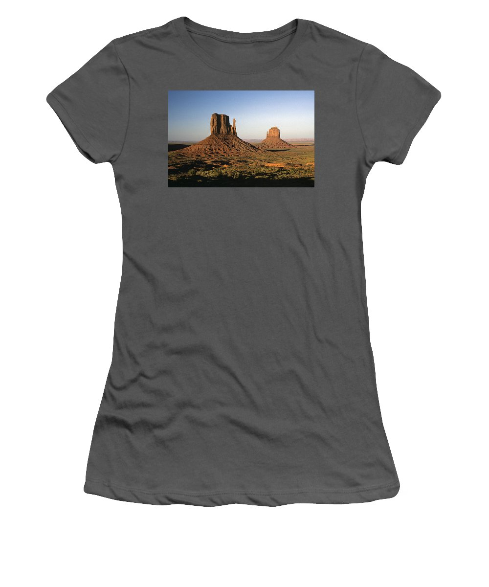 Arizona Women's T-Shirt (Athletic Fit) featuring the photograph Sunset Light With Mittens And Desert In Monument Valley Arizona by Jim Corwin