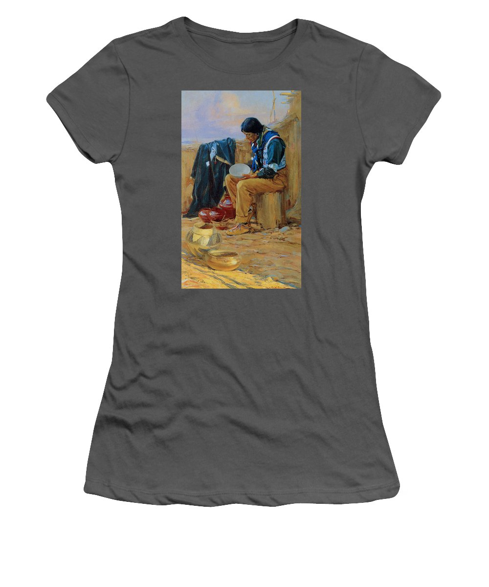 Gerald Cassidy Women's T-Shirt (Athletic Fit) featuring the photograph The Pottery Maker by Gerald Cassidy