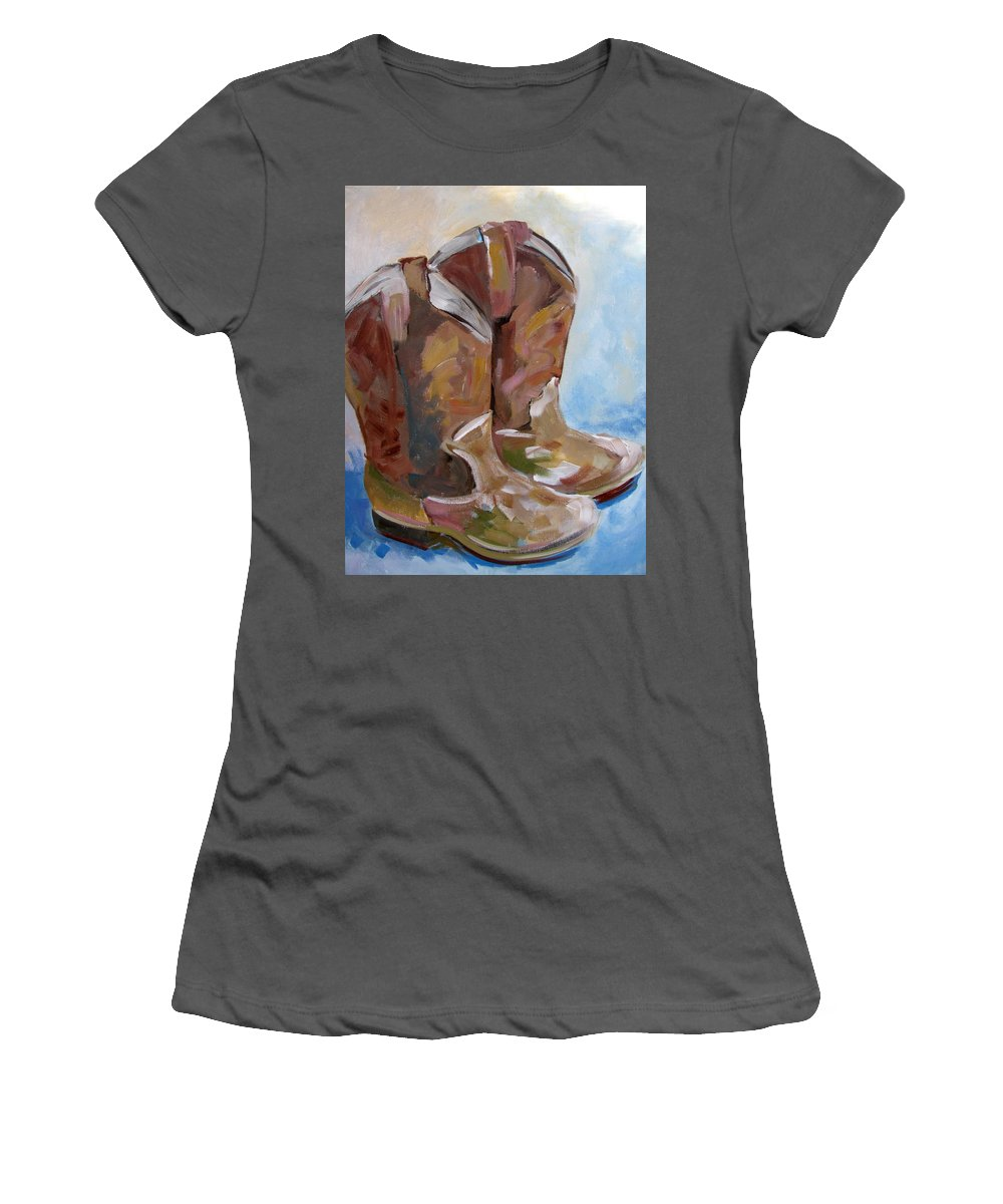 Cowboy Women's T-Shirt (Athletic Fit) featuring the painting True Grit by Susan Elizabeth Jones