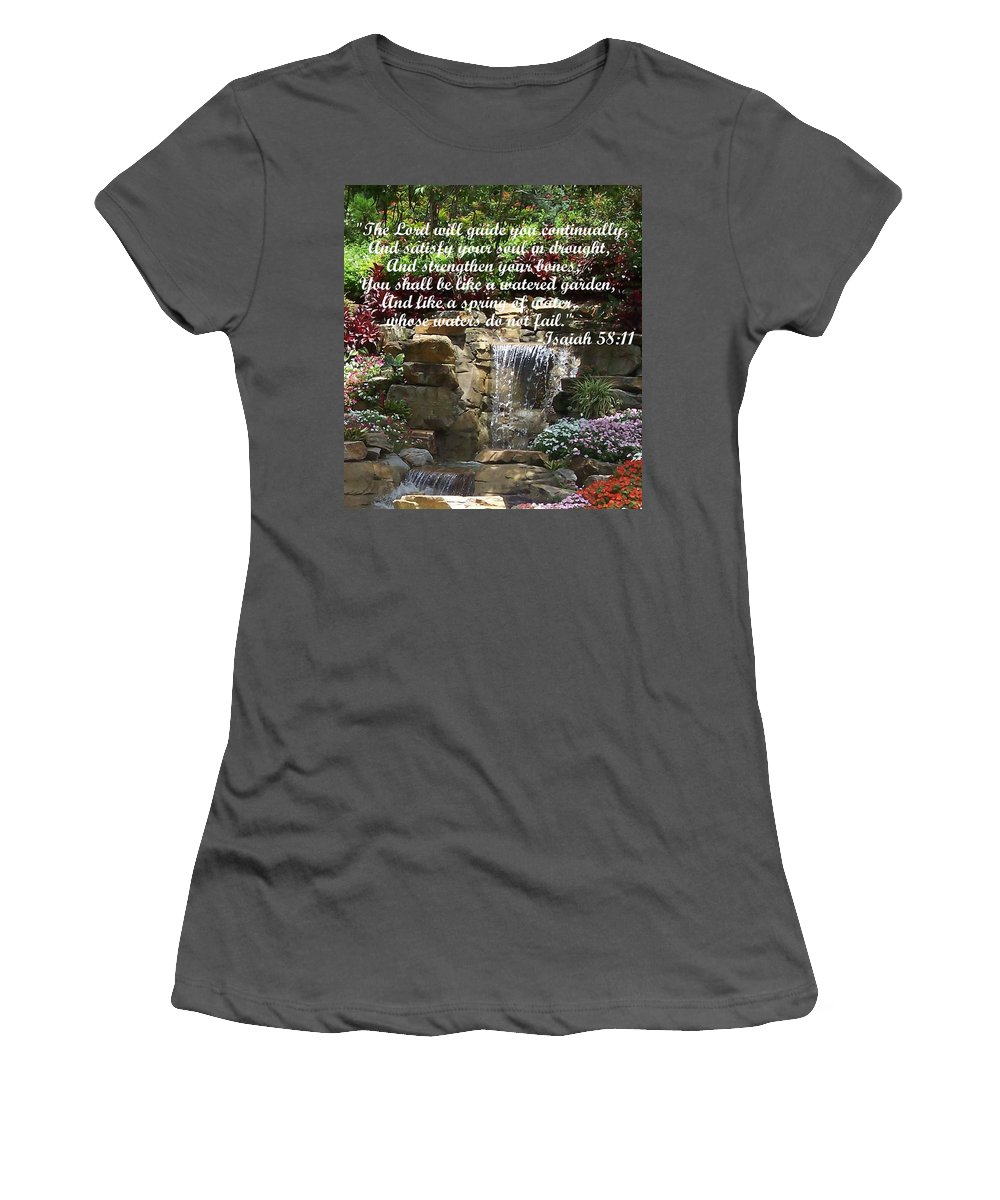 Inspirational Women's T-Shirt (Athletic Fit) featuring the photograph Watered Garden by Pharris Art