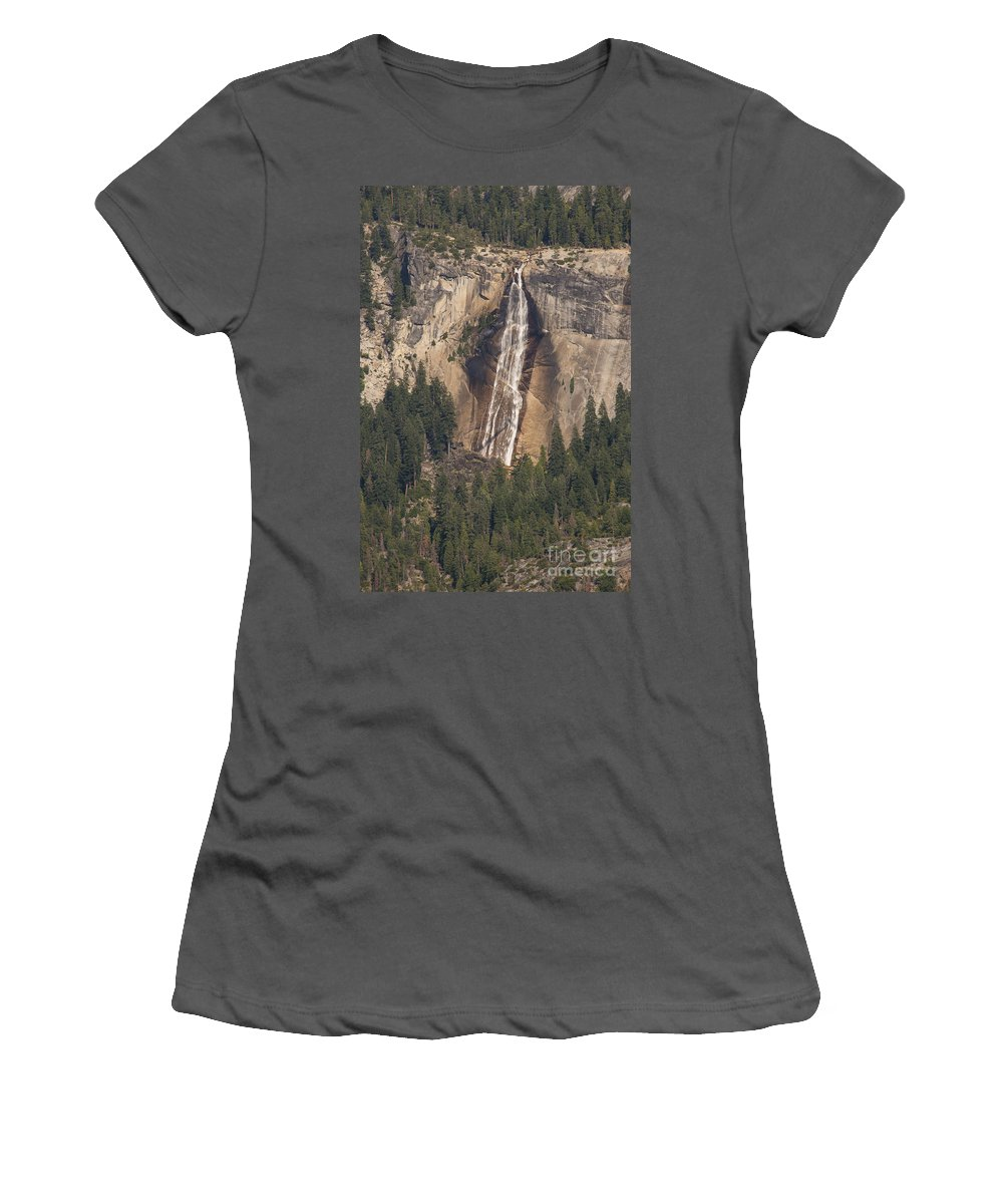 Nevads Falls Waterfall Waterfalls Tree Trees Yosemite National Park California Parks Landscape Landscapes Rock Rocks Stone Stones Water Forest Forests Women's T-Shirt (Athletic Fit) featuring the photograph Yosemite Nevada Falls by Bob Phillips