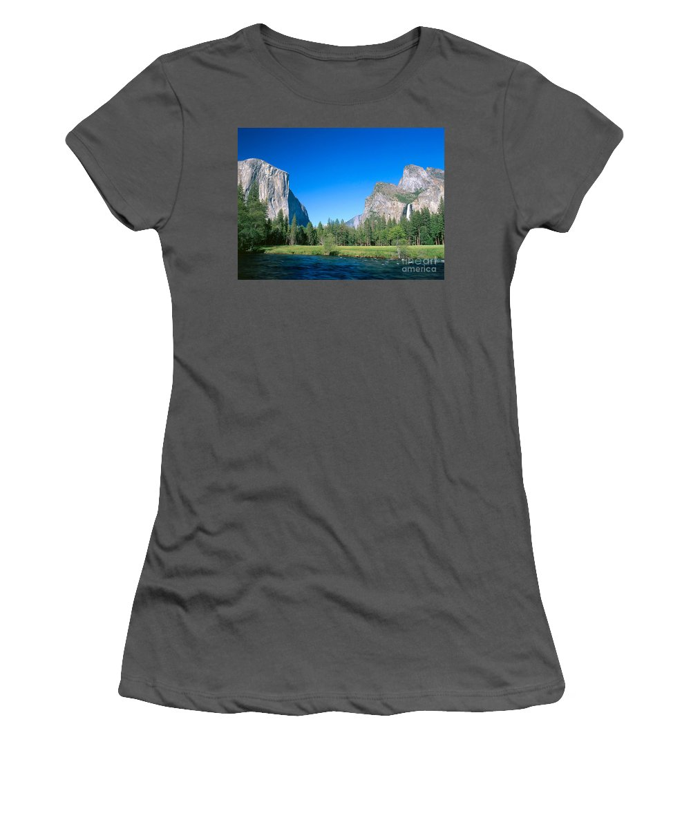 El Capitan Women's T-Shirt (Athletic Fit) featuring the photograph Yosemite Valley by David Davis