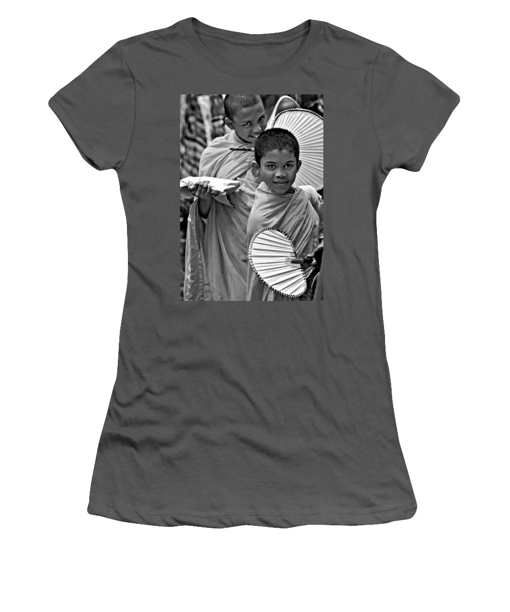 Buddhism Women's T-Shirt (Athletic Fit) featuring the photograph Young Monks Bw by Steve Harrington