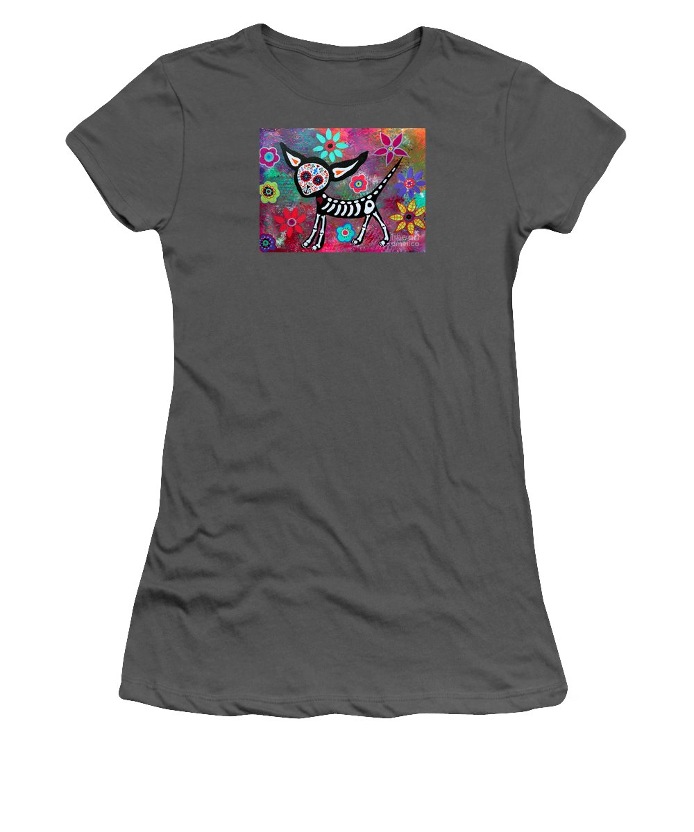 Tres Women's T-Shirt (Athletic Fit) featuring the painting Chihuahua Dia De Los Muertos by Pristine Cartera Turkus